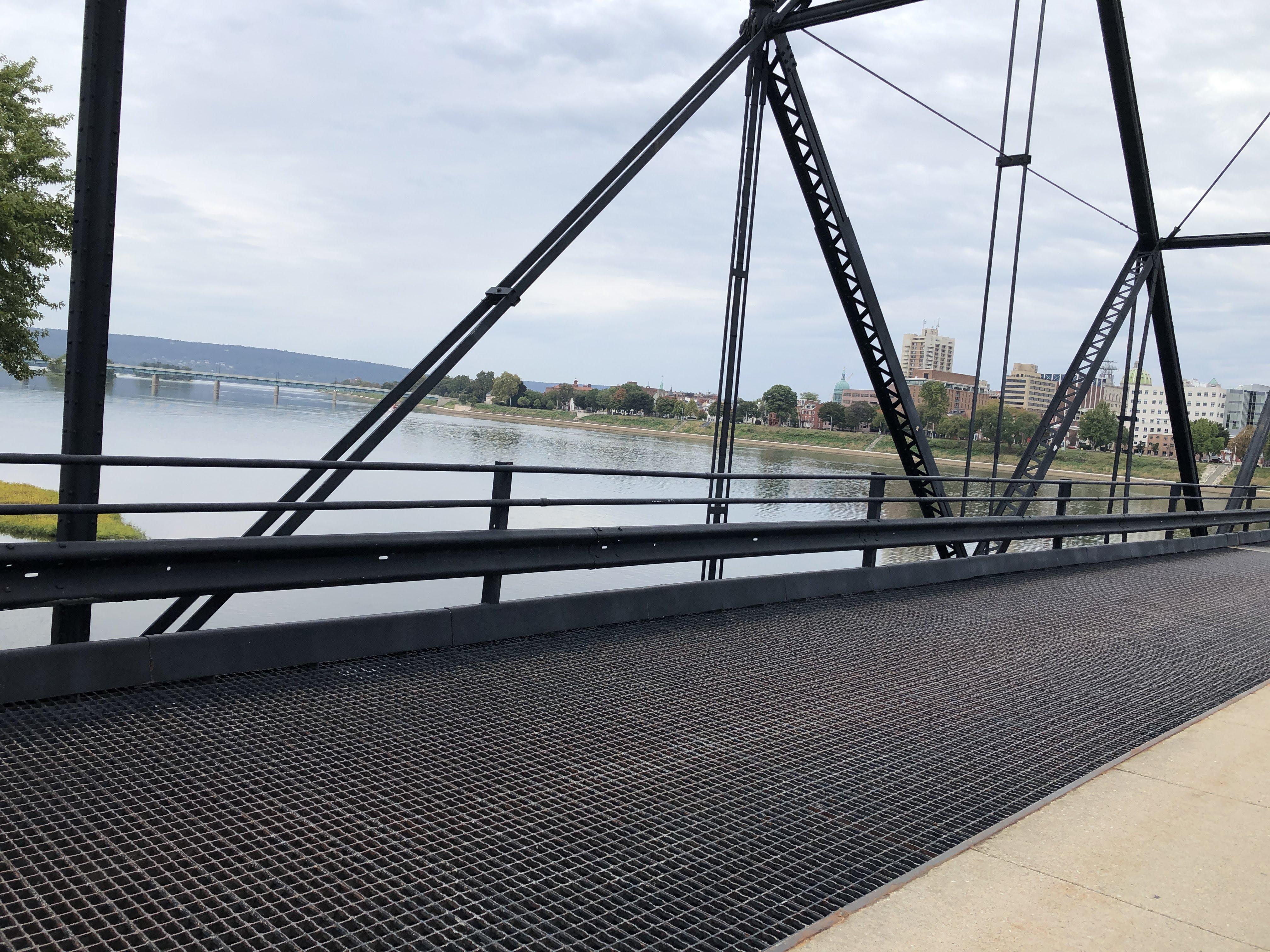 Walnut Street (pedestrian) Bridge, with Harvey Taylor Bridge in the background, Susquehanna River